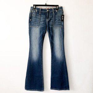 Miss Me Faded Blue Flare Denim Jeans Sz 29